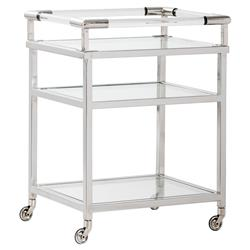Noonan Modern Classic Clear Acrylic Glass 3 Tier Silver Bar Cart | Kathy Kuo Home