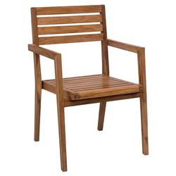 Nora Modern Classic Solid Teak Wood Outdoor Dining Arm Chair | Kathy Kuo Home