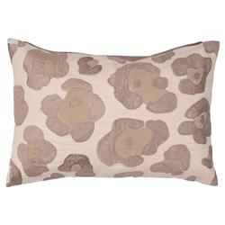 Ocelot Spotted Cat Beige Embroidered Pillow - 14x20 | Kathy Kuo Home
