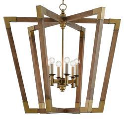 Odera Rustic Modern Brass Cap Modular Wood Chandelier Kathy Kuo Home