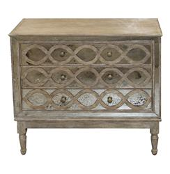 Ogee French Country Distressed Antique Mirror Dresser Chest | Kathy Kuo Home