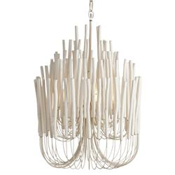 Olav Modern Classic White Washed Wood Tubular Chandelier | Kathy Kuo Home