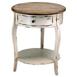 Olevi French Rustic Ivory Round Wood End Table | Kathy Kuo Home