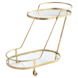 Olga Modern Regency Angular Brass Bar Cart | Kathy Kuo Home