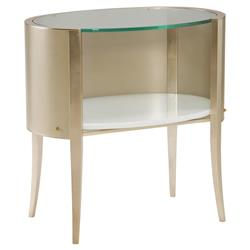 Olivia Hollywood Regency Glass Top Silver Leaf Oval Wood Nightstand | Kathy Kuo Home