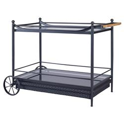 Olivia Knob Woven Black Outdoor Bar Cart | Kathy Kuo Home