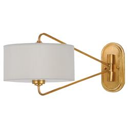 Olivia Mid Century Modern White Shade Gold Leaf Iron Adjustable Wall Sconce | Kathy Kuo Home