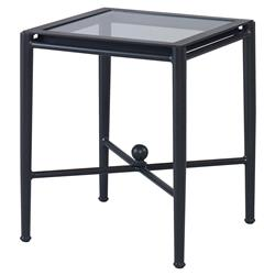 Olivia Spot Petite Black Outdoor End Table | Kathy Kuo Home