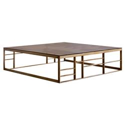 Olson Modern Classic Brown Tempered Glass Square Gold Coffee Table | Kathy Kuo Home