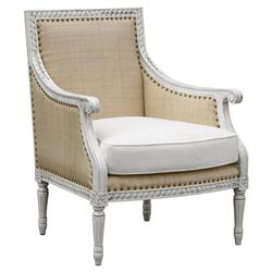 Oly Hanna Antique White Raffia Armchair | Kathy Kuo Home