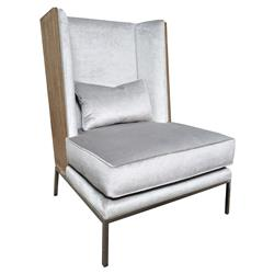 Oly James Platinum Mohair Driftwood Wing Chair | Kathy Kuo Home