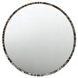Oly Pearl Round Grey Large Mirror | Kathy Kuo Home