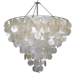 Oly Serena Capiz Shell Chandelier - 28.25D | Kathy Kuo Home