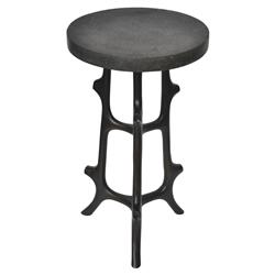 Oly Studio Brooklyn Global Round Black Resin Top Bronze Metal Side End Table | Kathy Kuo Home