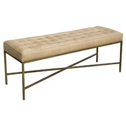 Oly Studio Jonathan Regency Beige Leather Tufted Gold Bench | Kathy Kuo Home