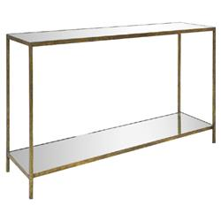 Oly Studio Jonathan Regency Mirror Top Gold Metal Console Table | Kathy Kuo Home