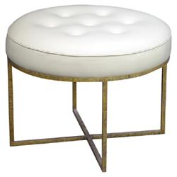 Oly Studio Jonathan Regency Round White Leather Tufted Gold Metal Stool | Kathy Kuo Home