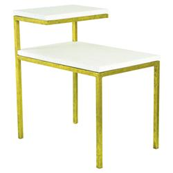 Oly Studio Quinn Regency White Resin Top Gold Metal Side End Table | Kathy Kuo Home