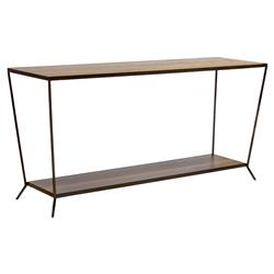 Oly Studio Sutter Modern Classic  Brown 2 Tier Wood Console Table - Small | Kathy Kuo Home