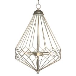 Open Silver Teardrop Industrial Loft Cage Pendant | Kathy Kuo Home