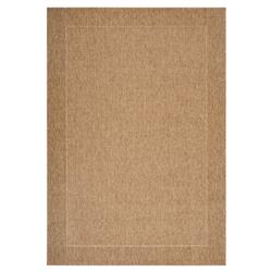 Oran Modern Brown Bordered Flatwoven Outdoor Rug - 3'11x5'7 | Kathy Kuo Home