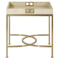 Oriana Ivory Faux Shagreen Tray Gold Side Table | Kathy Kuo Home