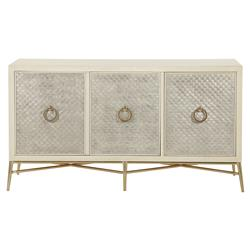 Oriana Modern Alabaster Silver Leaf Panel Media Cabinet | Kathy Kuo Home