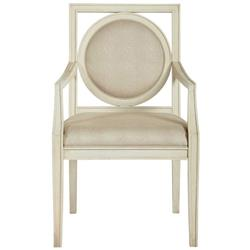 Oriana Modern Classic Upholstered Cream Arm Chair - Pair | Kathy Kuo Home