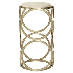 Oriana Modern Gold Ring Faux Shagreen Ivory End Table | Kathy Kuo Home