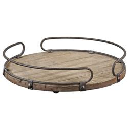 Osceola Rustic Lodge Iron Fir Wood Round Tray | Kathy Kuo Home