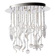 Oval Mirabella Clear Glass Murano Style 4 Light Ceiling Mount - Small