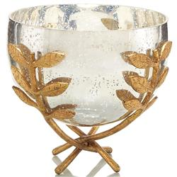Overton Hollywood Regency Gold Leaf Branch Mercury Glass Bowl | Kathy Kuo Home