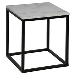 Owen Industrial Loft Square White Quartz Black Metal Small Side End Table | Kathy Kuo Home