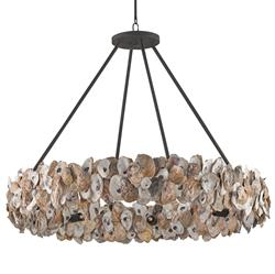 Oyster Shell Coastal Beach Ring   Chandelier | Kathy Kuo Home