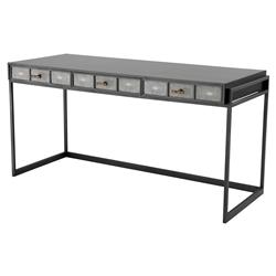 Paco Modern Classic Grey Faux Shagreen Rectangular Antique Brass Desk | Kathy Kuo Home