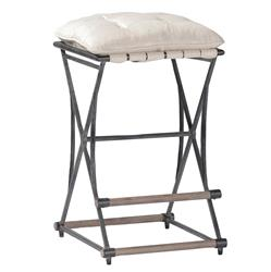 Pair Frederick French Country Industrial Linen Counter Stool | Kathy Kuo Home