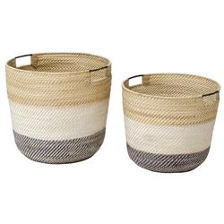 Palecek Bixby Coastal Beach Rattan Nautical Baskets - Set of 2 | Kathy Kuo Home