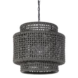 Palecek Brunswick Coastal Beach Grey Natural Wicker Outdoor Drum Pendant | Kathy Kuo Home