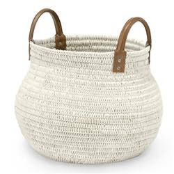 Palecek Cairo Global Bazaar White Cotton Rope Rattan Basket - Small | Kathy Kuo Home