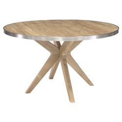 Palecek Caspian Modern Classic Teak Steel Trim Round Outdoor Dining Table | Kathy Kuo Home