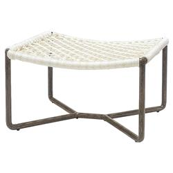 Palecek Dockside Modern Coastal Metal Hand Woven Rope Outdoor Ottoman | Kathy Kuo Home