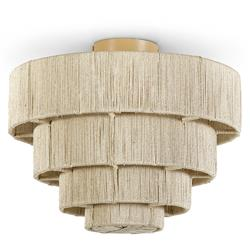 Palecek Everly Global Bazaar Natural Abaca Rope Semi Flush Mount | Kathy Kuo Home