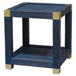Palecek Gregory Modern Classic Blue Hardwood Gold Cap Square Side End Table | Kathy Kuo Home