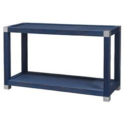 Palecek Gregory Modern Classic Rattan Wood Blue 2 Tier Console Table | Kathy Kuo Home