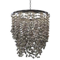 Palecek Layla Coastal Beach Natural Jute Grey Beaded Chandelier | Kathy Kuo Home