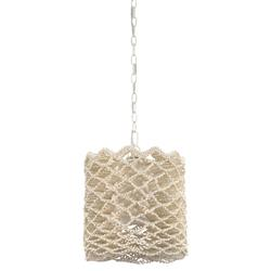 Palecek Malibu Coastal Beach White Coconut Shell Beaded Drum Pendant - Small | Kathy Kuo Home