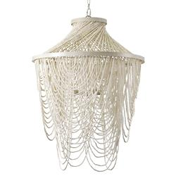 Palecek Mariana Coastal Beach White Beaded Chandelier | Kathy Kuo Home