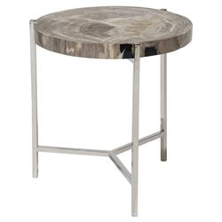 Palecek Maxwell Modern Rustic Petrified Wood Metal Round Side End Table | Kathy Kuo Home