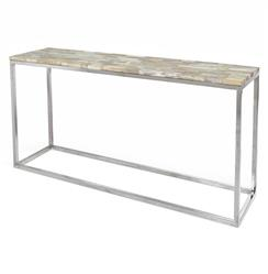 Palecek Mosaic Industrial Loft Petrified Wood Cream Rectangular Console Table | Kathy Kuo Home