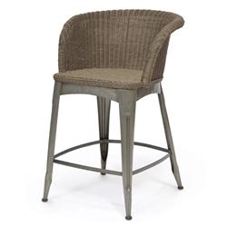 Palecek Navy Industrial Loft Vintage Iron Wicker Counter Stool | Kathy Kuo Home